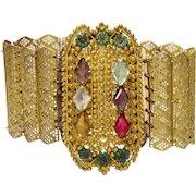 Antique Georgian Faux Gemstone Gilded Bracelet circa 1810