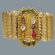 Antique Georgian Faux Gemstone Gilded Bracelet circa 1810