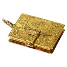 Antique Engraved Book Locket 15 Karat Gold