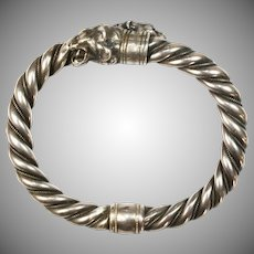 Antique Silver Lion Head Bangle Signed George Anton Scheid