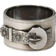 Antique Victorian Wide Silver  Engraved Buckle Bangle Bracelet