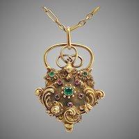 Antique Gold Ruby Emerald Padlock