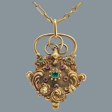 Antique Gold Ruby Emerald Padlock