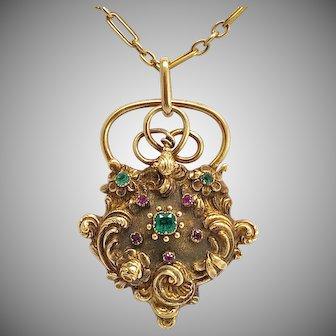 Antique Gold Emerald Ruby Georgian Padlock