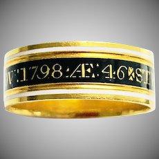 Antique Georgian Gold Enamel Mourning Ring 18th Century