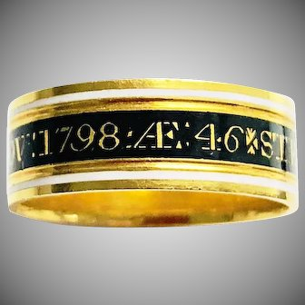Antique Georgian Gold Enamel Mourning Ring 18th Century