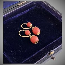 Antique Coral Georgian Gold Earrings Circa 1820