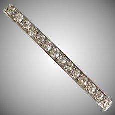 Antique Platinum Gold Diamond Bar Pin Circa 1905