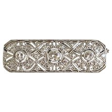 Antique Platinum Gold Diamond Bar Pin Circa 1915