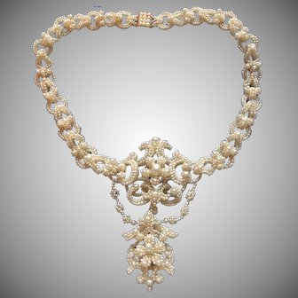 Amazing Natural Pearl Georgian Necklace in Box