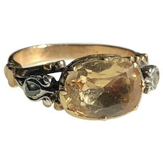 Antique Portuguese Topaz Diamond Ring 18th Century