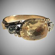 Antique Portuguese Topaz Diamond Ring 18th Century