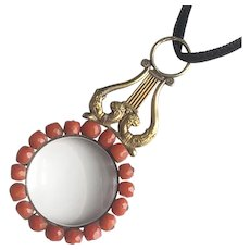 Antique Regency Coral Magnifying Glass