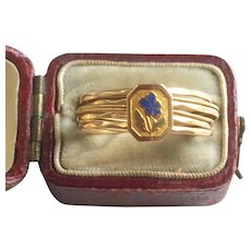 Antique French Gold Enamel Love Ring