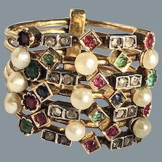 Antique French Gold Seven Band Gemstone Ring