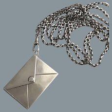 Large Antique Sterling Stamp Box  and Chain Necklace