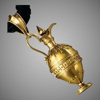 Rare French Gold Architectural Revival Urn Perfume Pendant