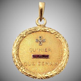 Superb Antique French 18 Karat Gold Love Pendant