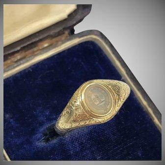 Antique Gold Intaglio Chalcedony Ring Circa 1860