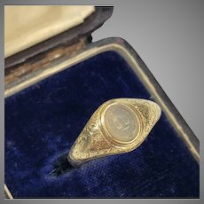 Antique Gold Intaglio Chalcedony Ring Circa 1860
