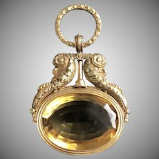 Dramatic Rare French Gold Citrine Watch Key Pendant Circa 1820