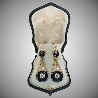 Elegant Antique French Gold Diamond Onyx Earrings Marret and Jarry