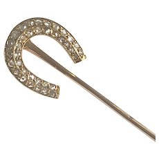 Antique French Diamond Horseshoe Stick Pin