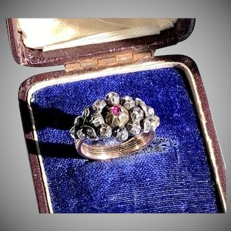 Rare Antique French Diamond Seven Day Ring