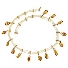 Antique Natural Pearl and Citrine Necklace Circa 1880