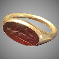 Ancient Intaglio and French Gold Set Ring