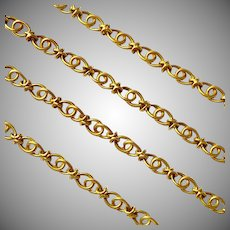 Exceptional Antique French LONG 18 Gold Love knot Chain