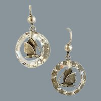 Antique Rock Crystal Silver Butterfly Rare Earrings Circa 1860
