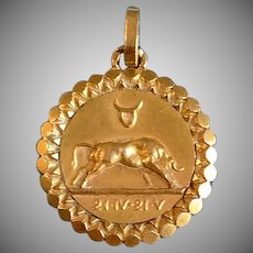 Antique French 18k Taurus Zodiac Pendant