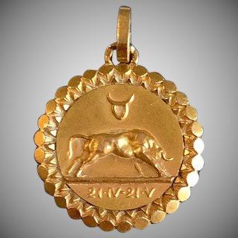 Antique French 18k Taurus Zodiac Pendant