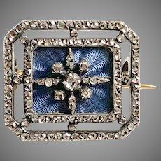 Remarkable Antique French Diamond Enamel Pin