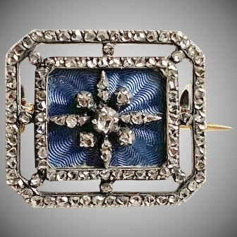 Remarkable Antique French Diamond Enamel Pin