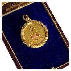 Exceptional French 18 karat Gold  Diamond Love Pendant