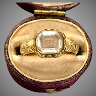 Antique Rare Stuart Crystal Gold Ring 17th Century