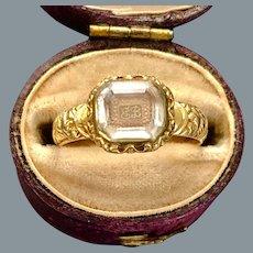 Antique Rare Stuart Crystal Gold Ring 17th Century