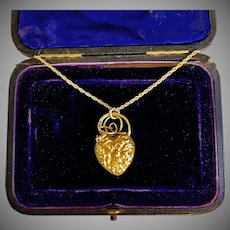 Antique Gold Georgian Heart Snake  Pendant