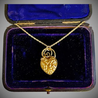 Antique Gold Georgian Heart Snake  Pendant