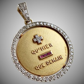 Ultimate  French Gold Diamond Love Pendant