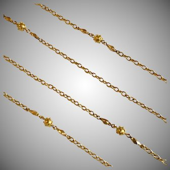Elegant Antique French Long 18 Karat Gold Chain