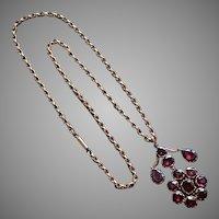 Antique Georgian Garnet Pendant and Gold Chain