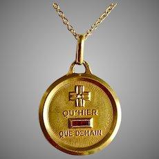 Wonderful  French 18 Karat Gold Love Pendant
