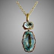 Antique French 18th century Aquamarine Gold Pendant