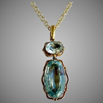 Antique French 18th century Aquamarine Gold Pendant