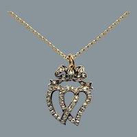 Antique Diamond Double Heart Love Pendant