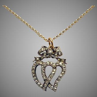 Antique Diamond Double Heart Love Pendant