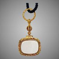 Beautiful Gold Antique Quizzing Glass Pendant Circa 1850